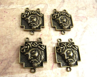 Antique Bronze/Brass Crown of Thorns Jesus Rosary Centers - set of 4