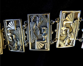 SIGNED Beautiful Vintage 1948 Sterling Art Deco Egyptian Bracelet from Sweden    Great Condition