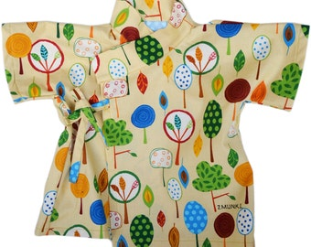 Baby Clothing Baby Kimono Baby Top Shirt - Tree Dreams - Robert Kaufman High Quality 100% Printed Cotton - Sizes from Newborn to 24 Mo -