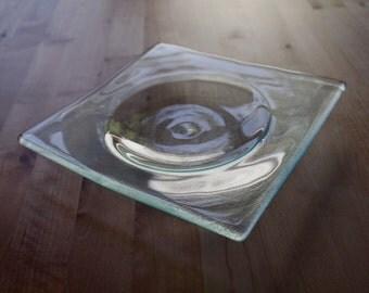 Reclaimed Glass Swirl Plates, Set of 2