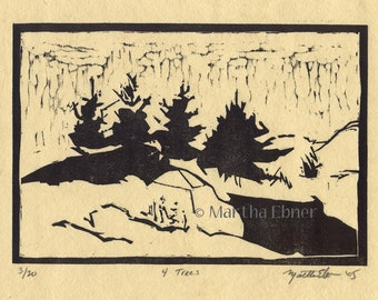 "Tree Woodcut Print ""4 Trees"""
