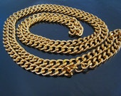Finding - 1 Yard of Gold Iron Chain for Necklace Bracelet Beaded Unfinished Link with Open Jump Ring ( 7mm width in each oval )