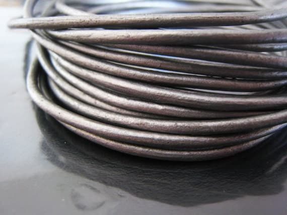 1 Yard of 2mm Cyber Black Round Genuine Leather Cord