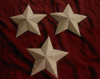 """Decorative 3-D Hanging  Paper Star Ornaments-8.5 """"-Upcycled Books"""