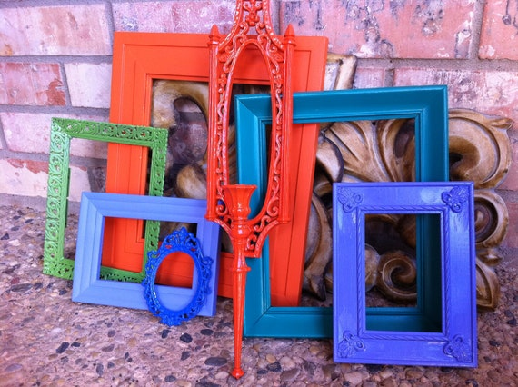 Funky bright home decor upcycled vintage frame set by for Funky home accessories