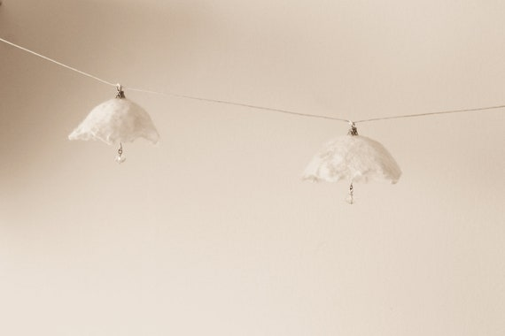 Felted florets - Wedding Garland - White blossom