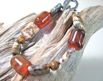 Dream Agate with Tiger Jasper - beaded bracelet - gemstones 290