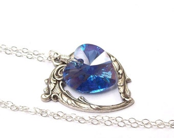 Blue Sapphire Necklace, Victorian Heart Necklace, blue heart, Swarovski crystal, September birthstone, fall fashion, sapphire blue necklace