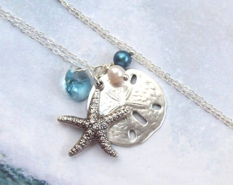 Starfish Necklace, Sand Dollar Necklace, Tropical Necklace, sterling silver, aqua, swarovski, blue, fashion, women