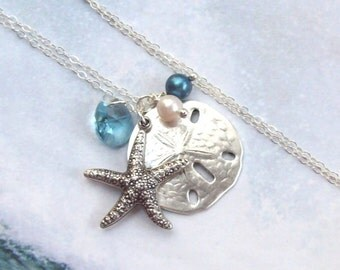 Starfish Necklace, Sand Dollar Necklace, Tropical Necklace, sterling silver, aqua, swarovski, blue, beach, fashion, women
