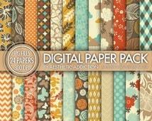 Fall Themed 24 Pack Digital Paper - Brown Orange Red Blue Beige - Damask Floral Geometric - 300 DPI - 24125