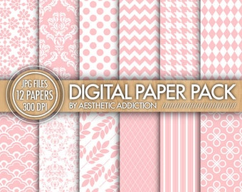 Pink Damask Geometric Floral Chevron Digital Paper for Personal or Commercial Use Digital Collage Sheets Background - 12250