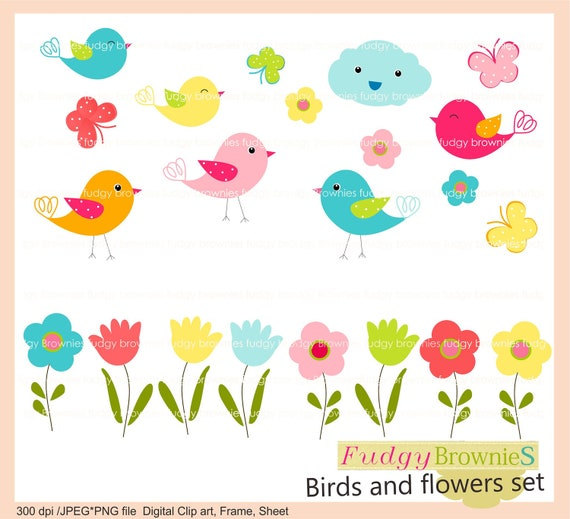 clipart flowers and birds - photo #6