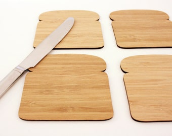 Bread Slice Toast Coasters, Set of 4 in Bamboo