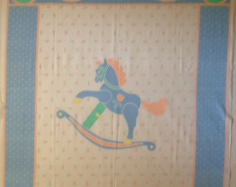 Vintage Rocking Horse Fabric Panel - OOP