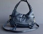 N A V Y  Blue Leather Bag, Purse, Shoulder Bag, Cross Body Bag with 4 Pockets, Medium Size