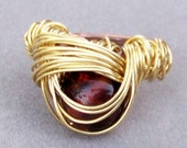 Ring Size 6  - Solid Brass Wire Wrapped Amber Glass Bead Cocktail Ring with hand hammered copper