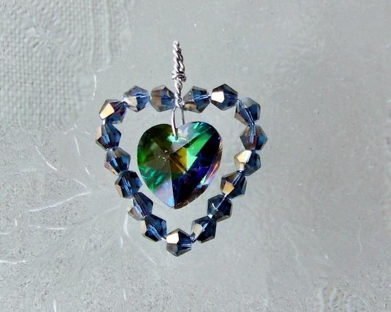 Crystal Heart Swarovski Vitrail Wire Wrapped Art Pendant