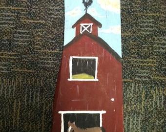 """Acrylic painting on barn wood 23 1/2"""" x 11"""",Barn wood painting,Acrylic painting, original painting,Barn yard"""