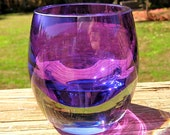 Purple Glass Tea Light Candle Holder
