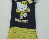 Reserved Hello Kittly Girls Upcycled Dress Yellow and Black Size 6