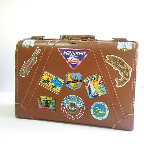 Vintage Suitcase Brown Leather Hard Side Suitcase Vintage Travel Stickers Luggage Labels Souvenir Labels, Carry On, Brown Suitcase