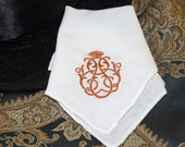 free shipping-White cotton with copper family crest handkerchief