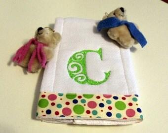 Embroidery  Baby Burp Cloth Custom Made Order Satin Swirl Alphabet