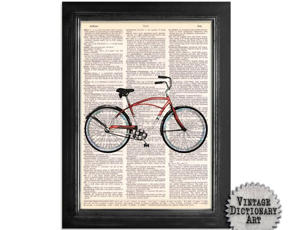 The Red Schwinn Cruiser Bicycle - Original Art Printed on Vintage Dictionary Paper - 8x10.5