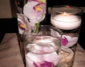 Floating Candle Centerpiece Kit with Artificial Orchids and White LED Light