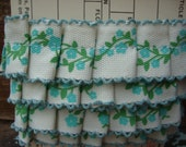 Blue and Green Floral Twill Handmade Ruffled Ribbon Trim