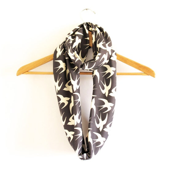 Organic Jersey Infinity Scarf in Navy Swallow Bird Print - Gift For Her - Winter Accessories - Free Shipping USA
