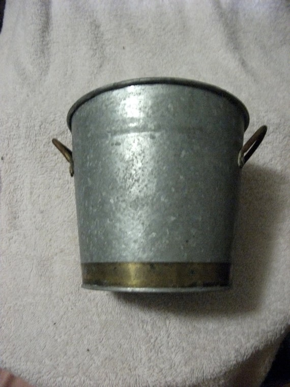 Vintage Corrugated Tin Bucket with Brass Handles and Trim on Base Country Chic Only 5 USD