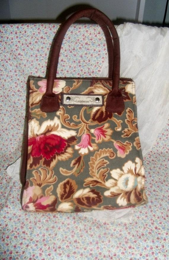 Vintage Longaberger Purse Floral Print of 100% Cotton Canvas Only 7 USD
