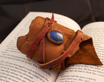 CUSTOM -Leather Cuff Wrap Bracelet and Macrame Semi Precious Stone Bracelet - Hippie Style