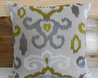 SALE Ikat decorative pillow cover, green and gray embroidered pillow
