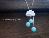 Sweet Summer Rain, Sterling silver necklace, Amazonite, Rain necklace, Anniversary gift, BIrthday gift, Bridal jewelry