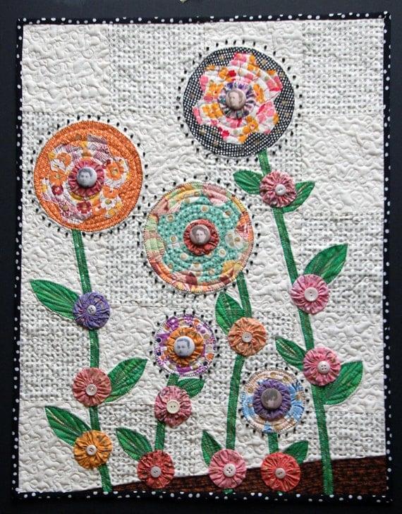Items Similar To Art Quilt Grandmother 39 S Flower Garden On Etsy