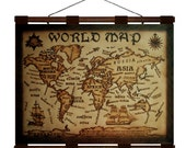 WORLD Map- Hand Burned Leather Wall Hanging -24x18 in.