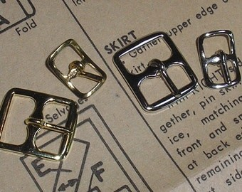 6 Brass Buckles with Prongs - Available with 1/2-inch, 3/8-inch, and 1/4-inch Opening in Gold or Nickel
