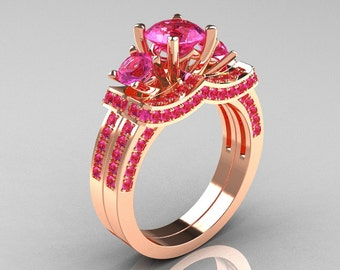 French 14K Rose Gold Three Stone Pink Sapphire Wedding Ring, Engagement Ring Bridal Set R182S-14KRGPS