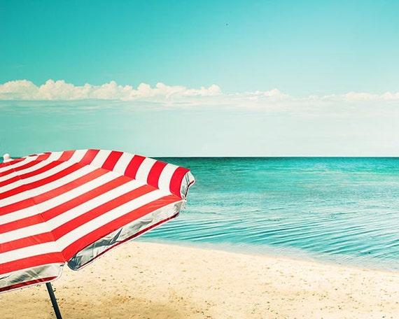 beach umbrella photography nautical decor fine art photography 8x10 8x12 coastal print ocean photography retro teal wall art red white blue