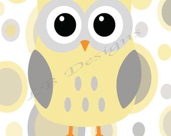 Gray and Yellow Owl Nursery Print, Gender Neutral Nursery Decor, Woodland Nursery Decor, Owl Nursery Art, Yellow Owl Decor - 8x10