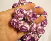 "50 Pcs. (Size 1"") Handmade Mulberry Paper Craft flower, Decoration, Wedding,  Roses, Purple 2 Tone."
