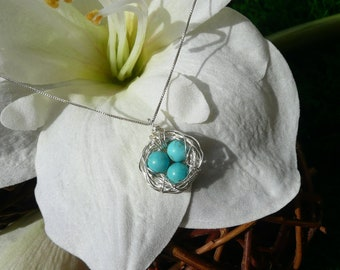 3 Eggs Bird's Nest Necklace Sterling Silver