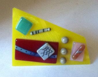 Brooch ,Glass ,Fused Glass ,Avant Garde Handmade