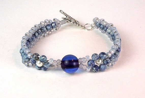 Blue Stone Bracelet - Right Angle Weave Bracelet - Stacking Bracelet
