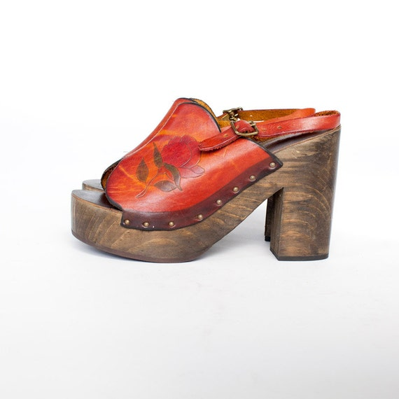 70s Red Rose wooden platforms hand tooled
