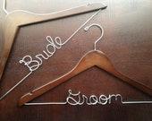 Wedding Hanger Set, Engagement Gift, Bride & Groom Hanger Set, Personalized Hangers, Wedding Hangers