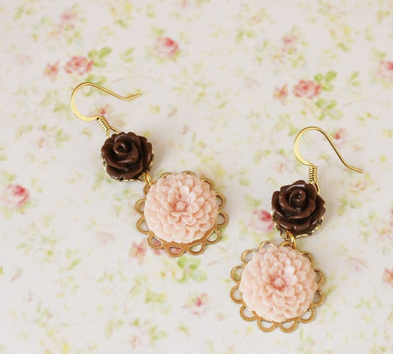 Pink Chocolate Flower Earrings. Bohemian. . Whimsical. Floral Jewelry. Bridesmaids Earrings. Fall. Autumn. Rose Smoke. Delicate.